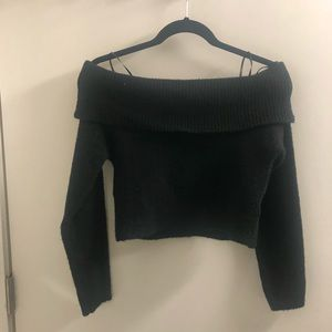 Tops - Black off the shoulder cropped sweater